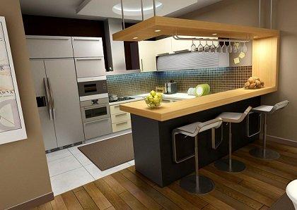 Барна стійка в ролі кухонного столу: плюси та мінуси